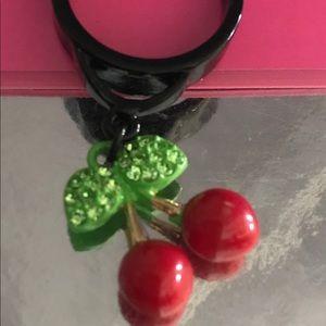 Betsey Johnson red cherry crystal charm ring vtg